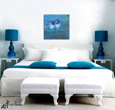 navy and teal home decor abstract lovebird art teal navy