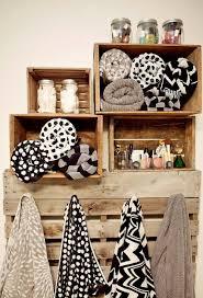 vintage wine box shelves in bathroom pallet to hang towels fun