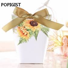 sunflower wedding favors 50pcs sunflower wedding favors white candy boxes with bowknot
