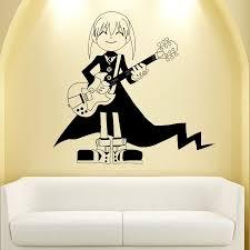 wall viinyl sticker decal art mural anime manga little girl with wall viinyl sticker decal art mural anime manga little girl with guitar d1695