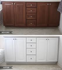 What Paint To Use On Bathroom Cabinets by Painted White Cabinets Before And After Kitchen Photos Intended Ideas