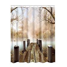 Rustic Bathroom Shower Curtains Polyester Paintings Pictures 3d Pattern Shower Curtain