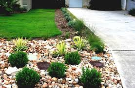Rock Garden Beds River Rock Front Yard Landscape Designs Plan Front Yard