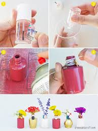 Flower Vase Crafts Diy Flower Bud Vases From Nail Polish Bottles
