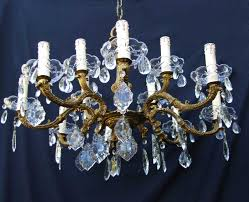 12 Bulb Chandelier 1930 Brass And Crystal 12 Bulb Chandelier