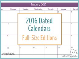 printable monthly planner 2016 free 2016 monthly calendar printables full size edition