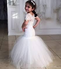 flower girl dress ivory mermaid flower dresses for wedding beaded lace