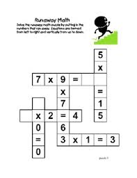 runaway math puzzles multiplication math practice grades 2 3 by
