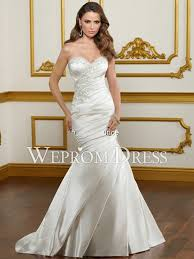clearance wedding dresses strapless satin white tucked embroidery pear shaped zipper