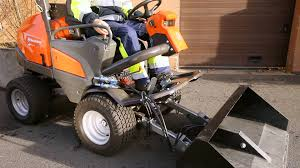 learn how to attach a utility bucket to a husqvarna p 525d front