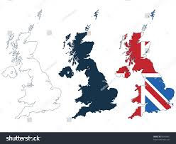Britain Blank Map by Great Britain Map Line Silhouette Flag Stock Vector 96958901