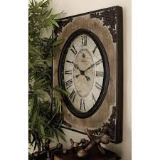 30 in x 22 in traditional rustic wood and iron wall clock 18102