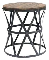 Accent Side Table Round Industrial Side Table Industrial Restoration Wood Rustic