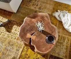 Wohnzimmertisch Holzstamm Couchtisch Live Edge Xl Akazie Natur Mit Rollen Baumstamm Möbel