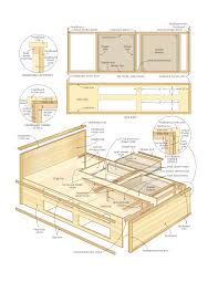 Farmhouse Bed Plans Platform Bed With Drawers Plans 1 Awesome Exterior With Platform