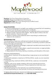 Dining Room Manager 100 Dining Room Manager Job Description How To Write A Job