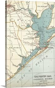 map of galveston galveston bay vintage map wall canvas prints framed prints