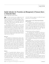 quality indicators for prevention and management of pressure