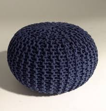 handmade knitted pouf navy blue 50x35cm hand knit pouf