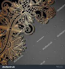 Text For Invitation Card Vector Background Gold Floral Pattern Place Stock Vector 397382635