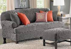Sofa Slipcovers With Separate Cushions Flannel Gray And Blue Oh So Cozy Sure Fit Slipcovers Stretch