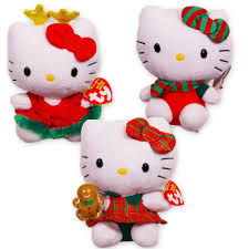 amazon com ty hello kitty christmas beanie baby collection set