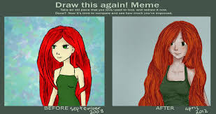 Red Hair Girl Meme - draw this again meme red hair by 9eli6 on deviantart