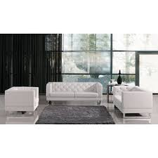 White Leather Living Room Set Modern White Living Room Sets Allmodern