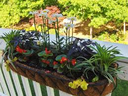 exterior cute deck rail planters with beautiful flower for exterior