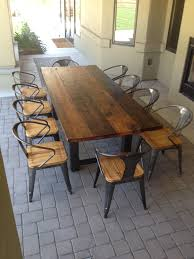 Table Ls Sets Reclaimed Wood And Steel Outdoor Dining Table 1 The Coastal