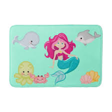 Bathtub Mat For Babies Cute Baby Sea Creatures Mermaid Bath Mat Zazzle Com