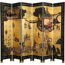 chinese room divider chinese 6 panel carved lacquer coromandel gold leaf vintage screen