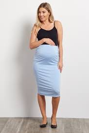 maternity skirt light blue fitted maternity pencil skirt