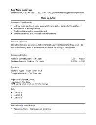 Artist Resume Templates Makeup Artist Resume Example Artist Resume Sample Makeup Artist