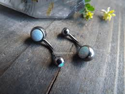 belly rings titanium images Titanium belly rings 14g 3 8 quot white opal navel button piercing jpg