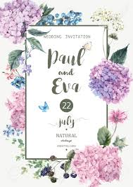 vintage floral vector wedding invitation with blooming hydrangea