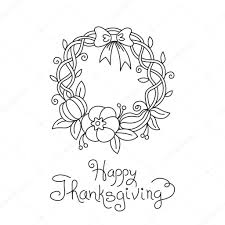 doodle thanksgiving wreath freehand vector drawing isolated stock