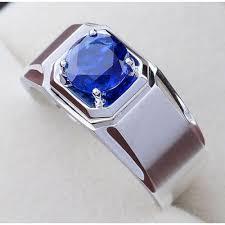 model cincin blue safir cincin pria wanita perak 925 blue sapphire solitaire band