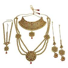 bridal set necklace earring images Muchmore indian style golden plated polki multi stone jpg