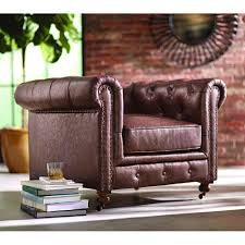 Home Chair Home Decorators Collection Gordon Brown Leather Arm Chair