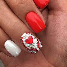 and white nails with shaped rhinestone easy nail designs