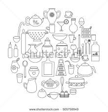 hand drawn kitchen doodles circle stock vector 493089286