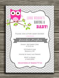 printable pink owl baby shower invitation baby gray