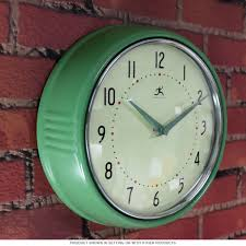 green fifties style kitchen wall clock infinity wall clocks