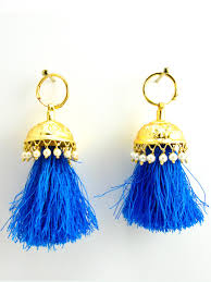 punjabi jhumka earrings flamingo jhumka earrings with faux pearls and blue threads