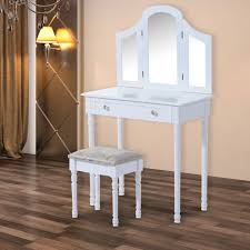 Shabby Chic Stools by Homcom Large Dressing Table Set Shabby Chic Stool Mirror Drawer