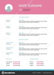 Resume Header Template Resume Template Design With Pink Headings U2014 Stock Vector