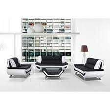 BondedLeather Sofa Loveseat Chair And CoffeeTable Two Tone BlackWhite - Chelsea leather sofa