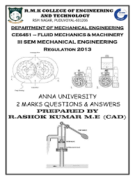 fluid mechanics and machinery university two mark question and