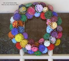 zinnia pine cone wreath a labor of sting with blue moon